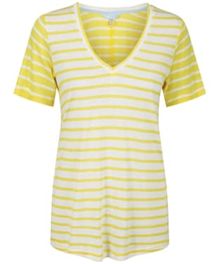 Women's Joules Lola Stripe Tee - White/Yellow Stripe