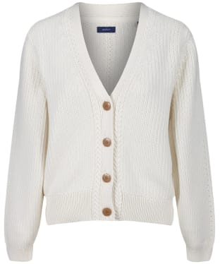 Women's GANT Ribbed V Cardigan - Cream