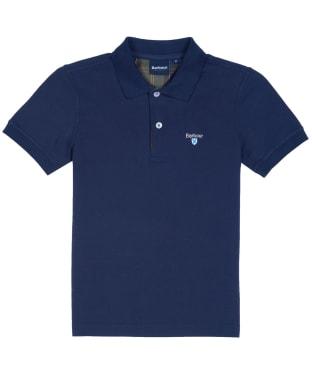 Boy's Barbour Tartan Polo Shirt, 6-9yrs - Navy