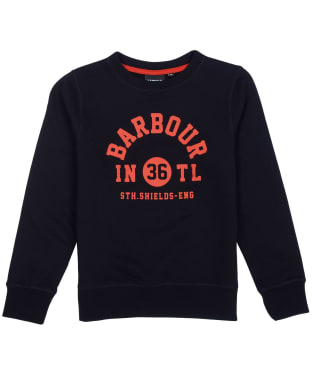 Boy's Barbour International Collegiate Crew Sweater, 6-9yrs - Black