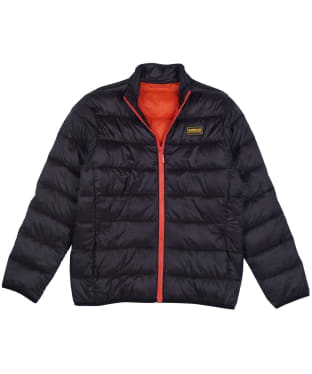 Boy's Barbour International Reed Quilted Jacket, 2-9yrs - Black / Orange