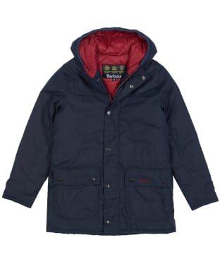 Boy's Barbour Durham Waxed Jacket, 6-9yrs - Navy