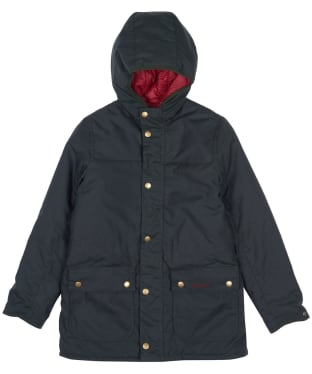 Boy's Barbour Durham Waxed Jacket, 6-9yrs - Sage / Red