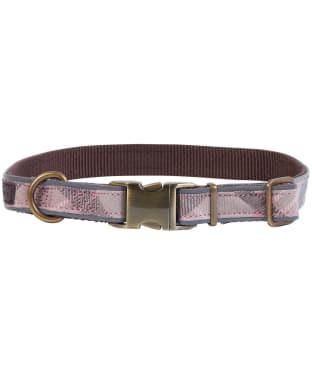 Barbour Reflective Tartan Dog Collar - Taupe / Pink Tartan