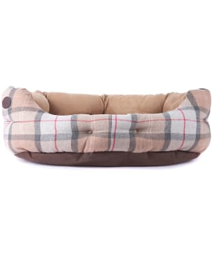 """Barbour 30"""" Luxury Dog Bed - Taupe / Pink Tartan"""