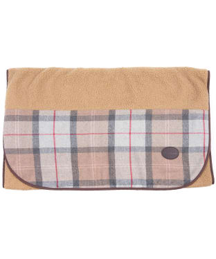 Barbour Wool Touch Fleece Dog Blanket - Taupe / Pink Tartan