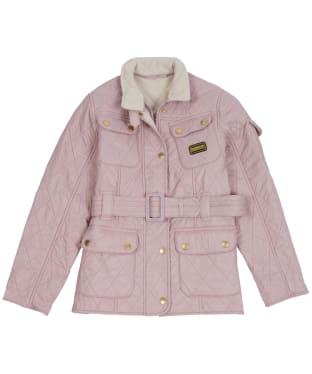 Girl's Barbour International Quilted Jacket, 2-9yrs - Rose Quartz