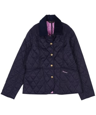 Girl's Barbour Summer Liddesdale Quilted Jacket, 2-9yrs - Navy / Moonlight Pink