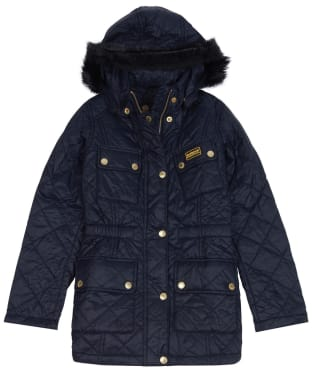 Girl's Barbour International Enduro Quilted Jacket, 10-14yrs - Black