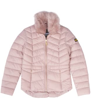 Girl's Barbour International Halfback Quilted Jacket, 6-9yrs - Rose Quartz