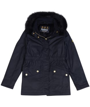 Girl's Barbour International Croft Waxed Jacket, 6-9yrs - Black