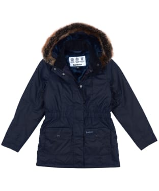 Girls Barbour Tern Waxed Jacket, 6-9yrs - Royal Navy