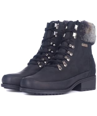 Women's Barbour Riva Leather Hiker Boots - Black