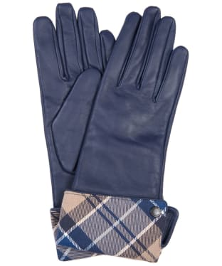 Women's Barbour Lady Jane Leather Gloves - Dark Navy / Tempest Trench