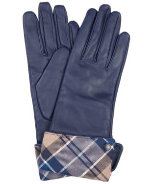 Women's Barbour Lady Jane Leather Gloves - DK NAVY/TEMPTRN