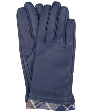 Women's Barbour Tartan Trimmed Leather Gloves - NAVY/TEMP TARTN