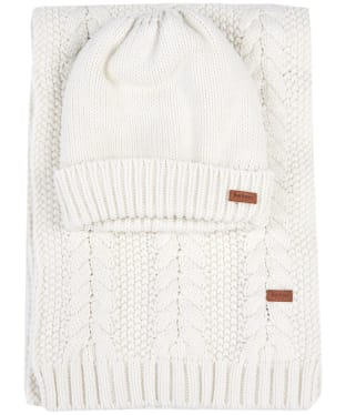 Women's Barbour Cable Knit Hat and Scarf Set - Cloud