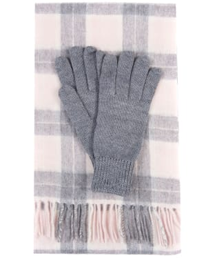 Women's Barbour Wool Tartan Scarf & Glove Set - Pink / Grey Tartan