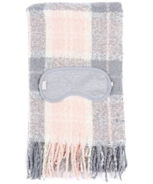 Women's Barbour Tartan Boucle Wrap & Eye Mask Set - Pink / Grey