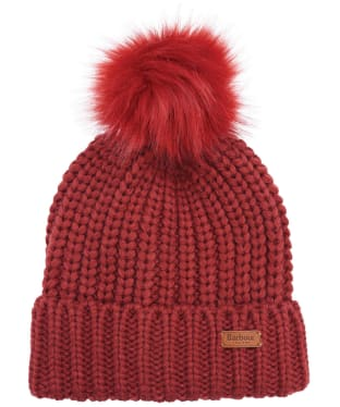 Women's Barbour Saltburn Bobble Hat - Burnt Red