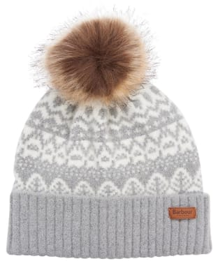 Women's Barbour Alpine Fairisle Pom Beanie - Grey