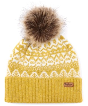 Women's Barbour Alpine Fairisle Pom Beanie - Golden Spice