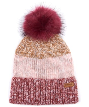Women's Barbour Dipton Pom Beanie - Ginger / Red / Pine