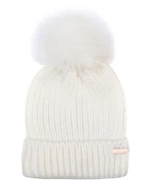 Women's Barbour International Pearlised Pom Beanie Hat - Cream