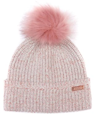 Women's Barbour International Cadwell Pom Beanie Hat - Grey/Rose Gold