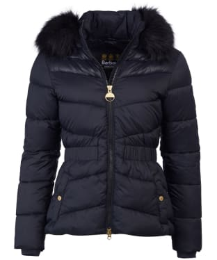 Women's Barbour International Checkside Quilted Jacket - Black