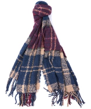 Women's Barbour Tartan Boucle Scarf - Damson