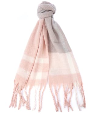 Women's Barbour Isla Tartan Boucle Scarf - Pink / Grey