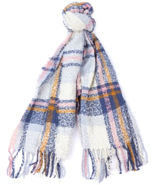 Women's Barbour Oyster Check Boucle Scarf - Cloud Mix