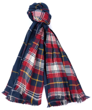 Women's Barbour Brecon Reversible Check Scarf - Navy / Pearl