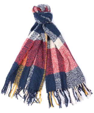 Women's Barbour Ridley Boucle Check Scarf - Claret/Pearl/Navy