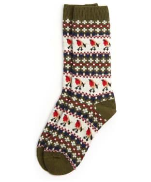 Women's Barbour Robin Fairisle Socks - Olive