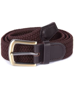 Men's Barbour Stretch Webbing Leather Belt - Dark Brown