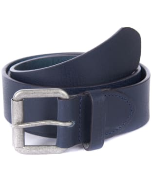 Barbour Matt Leather Belt - Navy