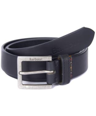Men's Barbour Pull Up Leather Belt - Black