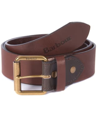 Men's Barbour Contrast Leather Belt - Olive