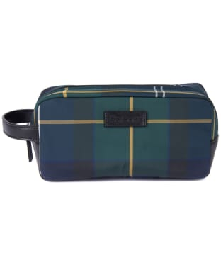 Men's Barbour Wetherman Tartan Washbag - Seaweed