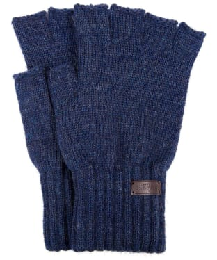 Men's Barbour Fingerless Lambswool Gloves - Navy