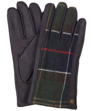 Men's Barbour Weldon Tartan Gloves - Dark Brown / Classic Tartan