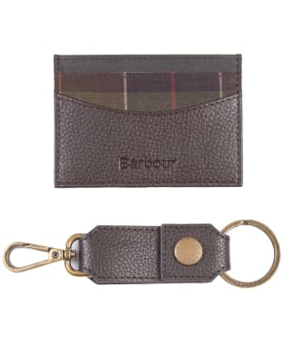 Men's Barbour Clip Keyring & Small Wallet Gift Set - Dark Brown