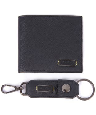 Men's Barbour International Leather Billfold & Keyring Giftset - Black
