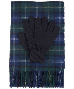 Men's Barbour Tartan Scarf and Glove Gift Set - Seawood Tartan
