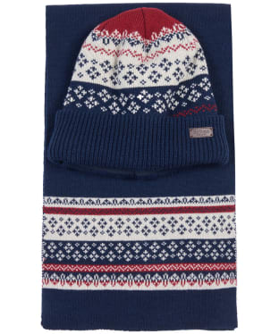 Men's Barbour Fairisle Beanie and Scarf Gift Set - Navy / Red / Ecru