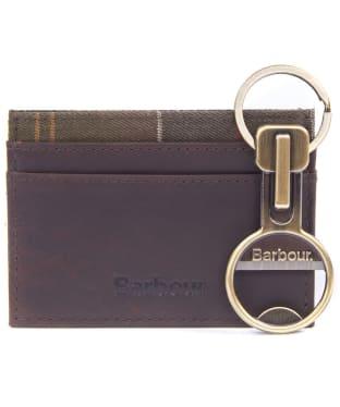 Men's Barbour Keyring and Cardholder Gift Set - Antique Brass / Brown