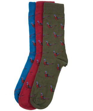 Men's Barbour Pheasant Sock Gift Box - Olive / Blue / Red