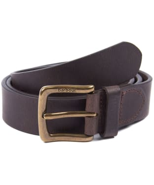 Men's Barbour Oakworth Leather Belt Gift Box - Dark Brown